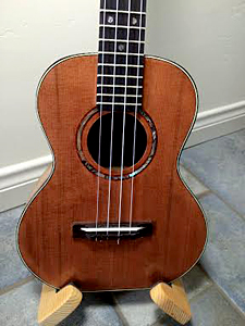 Tenor Ukulele with Redwood top and Pistachio B&S by Jim Schaffer  USA  jschaffer4311@gmail.com