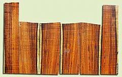 "KOUS18023 - Koa 6 piece, Soprano Ukulele Back Top & Side Set, Air Dried, Excellent Color& Figure, TraditionalLuthier Wood, 4 panels each 0.13"" x 4"" X 10.5"", S1S, and 2 panels each 0.13"" x 3"" X 14.6"", S1S"
